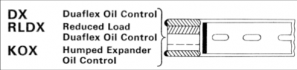 Duraflex Oil Control, Reduced Load Duraflex Oil Control, Humped Expander Oil Control